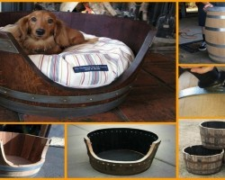 Here's An Awesome DIY Project: Wine Barrel Dog Bed
