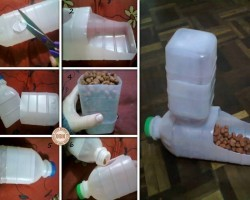 Easy To Make DIY Plastic Bottle Pet Feeder
