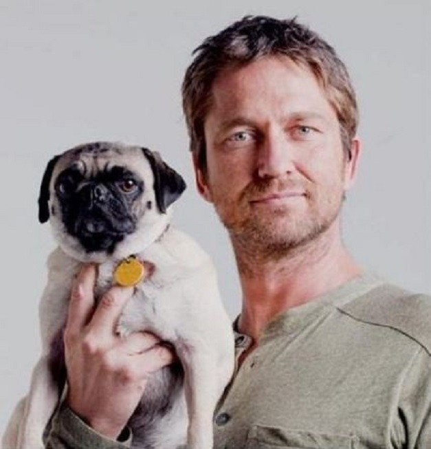 Gerard Butler with his Pug