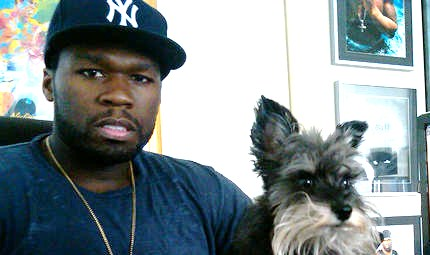 50 Cent with dog