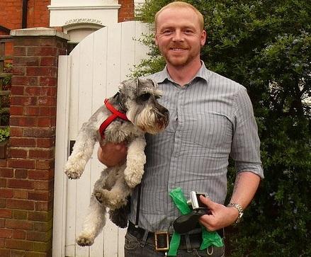 Simon Pegg with dog