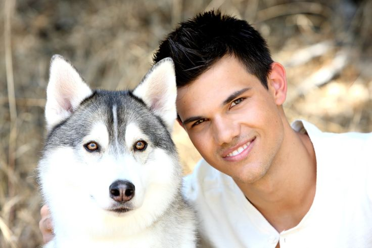 Taylor Lautner with husky