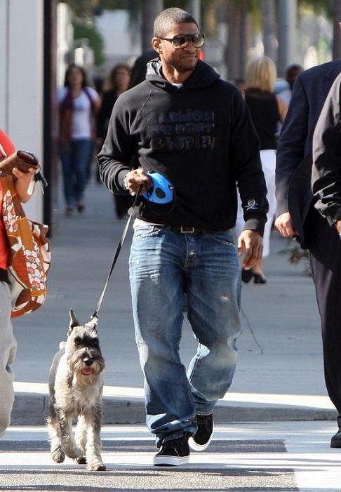 Usher and his Schnauzer