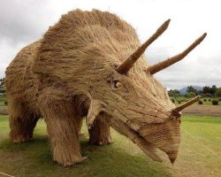 Giant Straw Dinosaurs Invade Japanese Fields After Rice Harvest