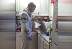 Before he leaves each morning, his cat requires this special goodbye