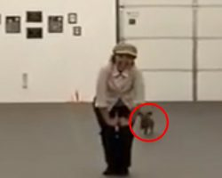 Woman stands with her Dachshund, once the music starts you'll love this DUO