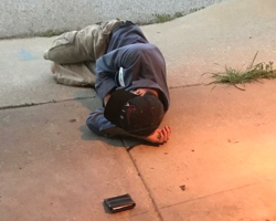 Homeless Man Hoping To Find His Lost Dog Sleeps Outside Of The Shelter