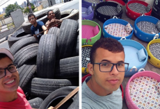Young Brazilian artist transforms old discarded tires into comfy beds for stray pets
