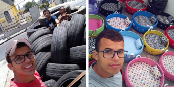 Artist Turns Old Tires Into Comfy, Colorful Beds For Animals