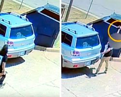 Woman Swings Tiny Puppy By The Neck, Throws Him In The Dumpster And Runs Off