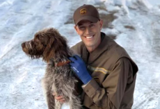 UPS Driver Puts His Work On Hold To Save Dog Drowning In An Icy Pond