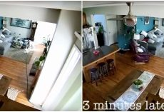 Security Cam Caught The Moment When Dog Brings A Water Hose Into The House