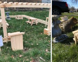 Man Builds A Tiny Restaurant In His Yard For All The Critters To Enjoy