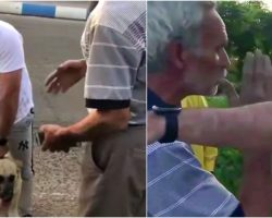 Despicable Man Drags Dog By Rope From Motorbike And Guy Gets In Owner's Face