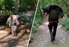 Ranger Carries Exhausted 100-Lb Dog On His Shoulders For Miles To Save His Life