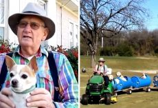 People Keep Dumping Dogs Near His House, So He Builds Them A Special Doggie Train