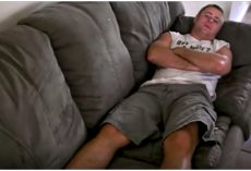 Man lies on sofa and when he calls his dog over, Don't Look Away